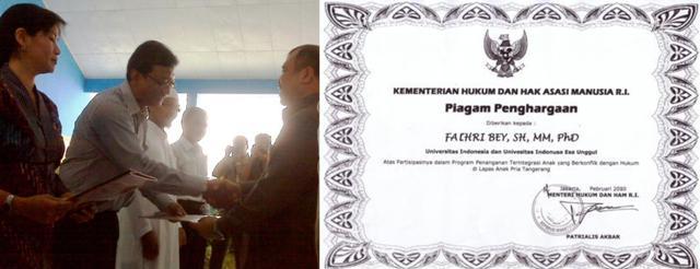 Penghargaan Menteri Hukum dan HAM RI untuk FH UEU