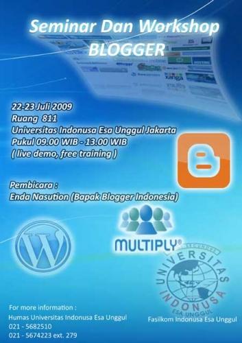Seminar dan Workshop Blogger Minggu