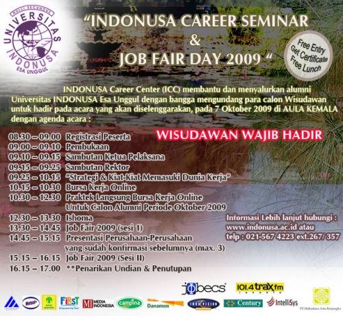 Indonusa Job Fair & Career Seminar 2009