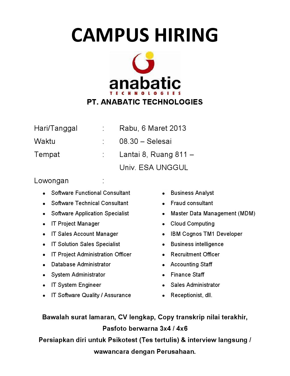 Campus Hiring – PT. Anabatic Tecnologies