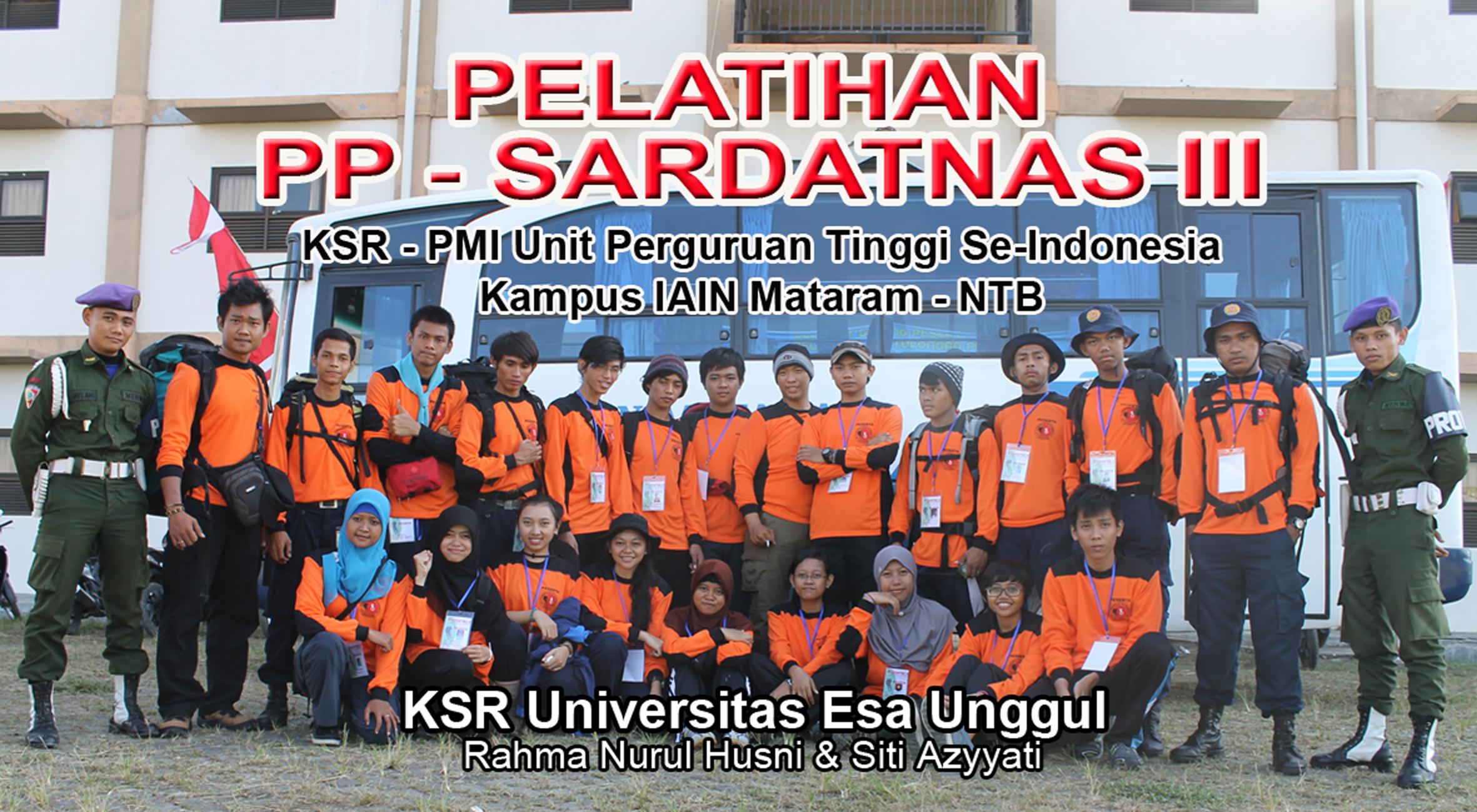 KSR PMI Unit Universitas Esa Unggul  ikut serta dalam Pelatihan PP-SARDATNAS untuk Perguruan Tinggi Seluruh Indonesia