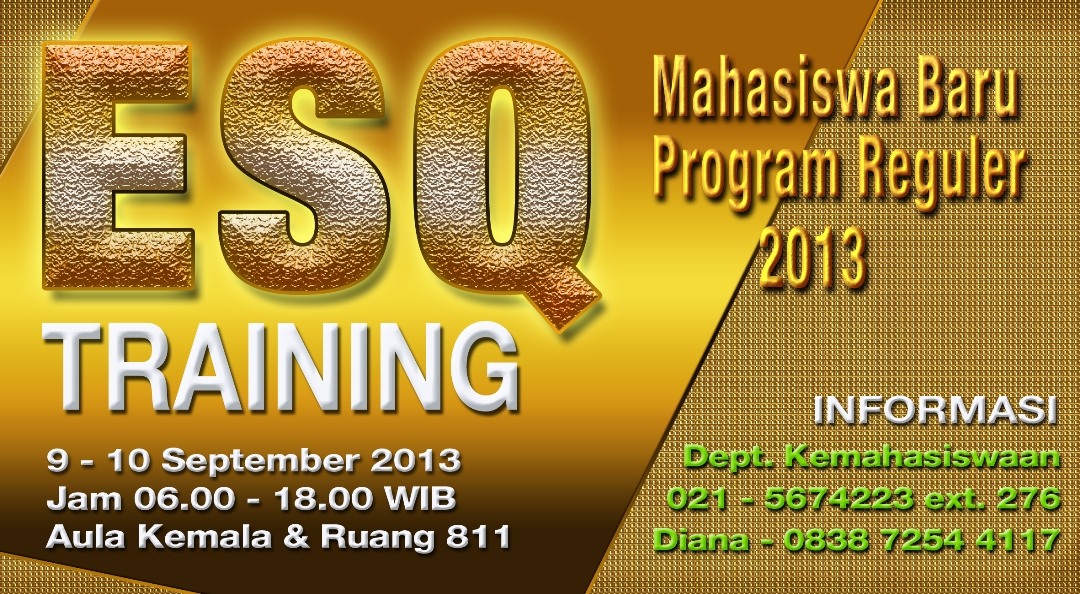 """Universitas Esa Unggul menyelenggarakan """" ESQ Training 2013"""" Mahasiswa Baru Program Reguler Tahun 2013"""