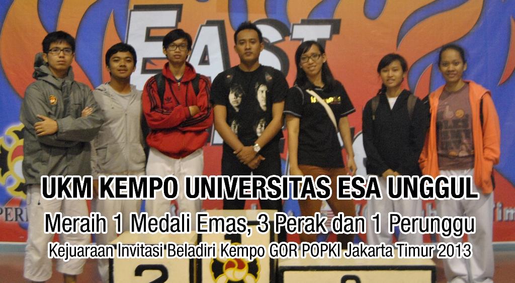UKM KEMPO Universitas Esa Unggul meraih 1 Medali Emas, 3 Perak dan 1 Perunggu Kejuaraan Invitasi Beladiri Kempo GOR POPKI Jakarta 2013