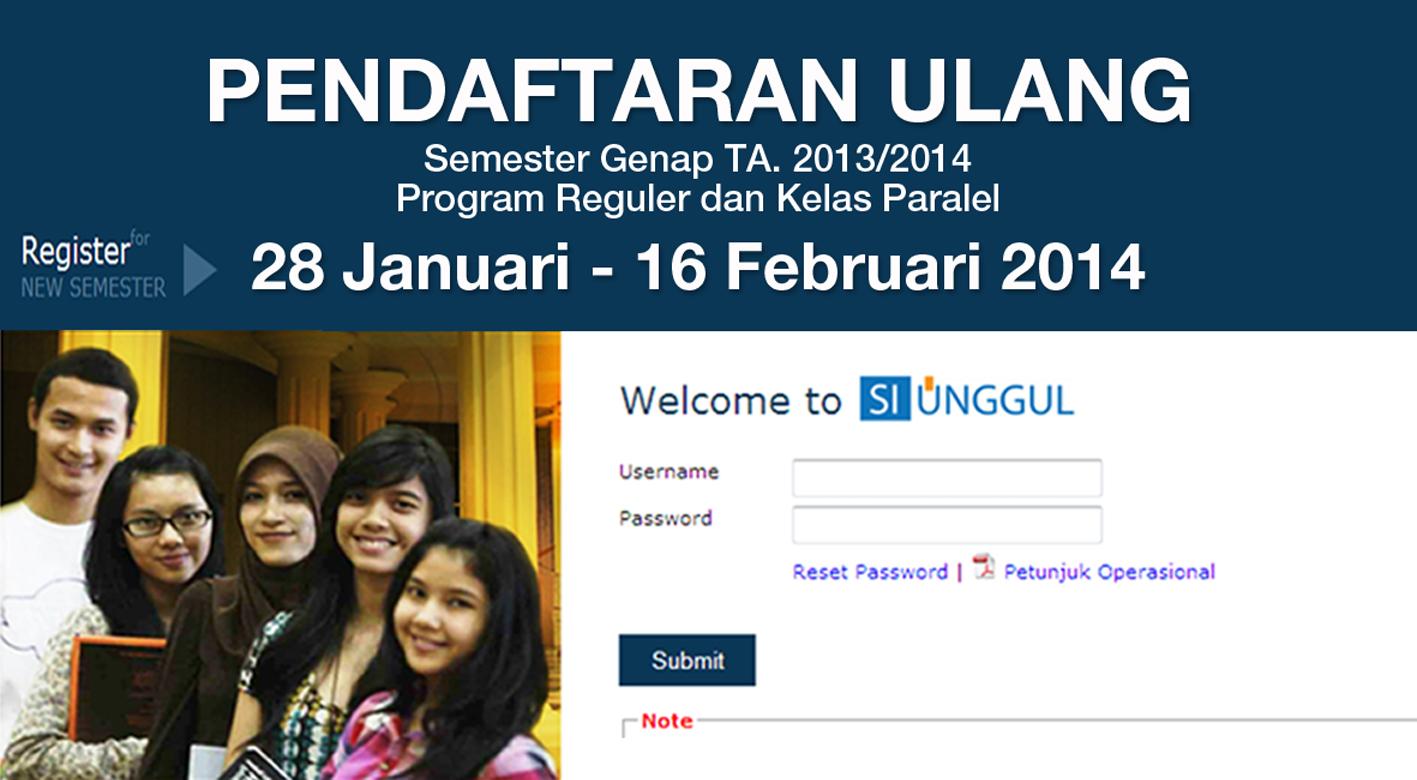 Pendaftaran Ulang Semester Genap TA. 2013/2014 Program Reguler dan Program Paralel