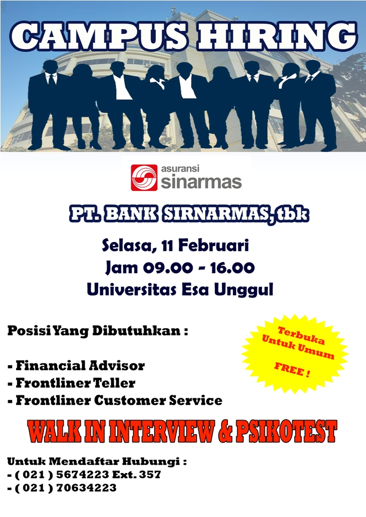 Campus Hiring – PT. Bank Sinarmas Tbk – Selasa 11 Februari 2014