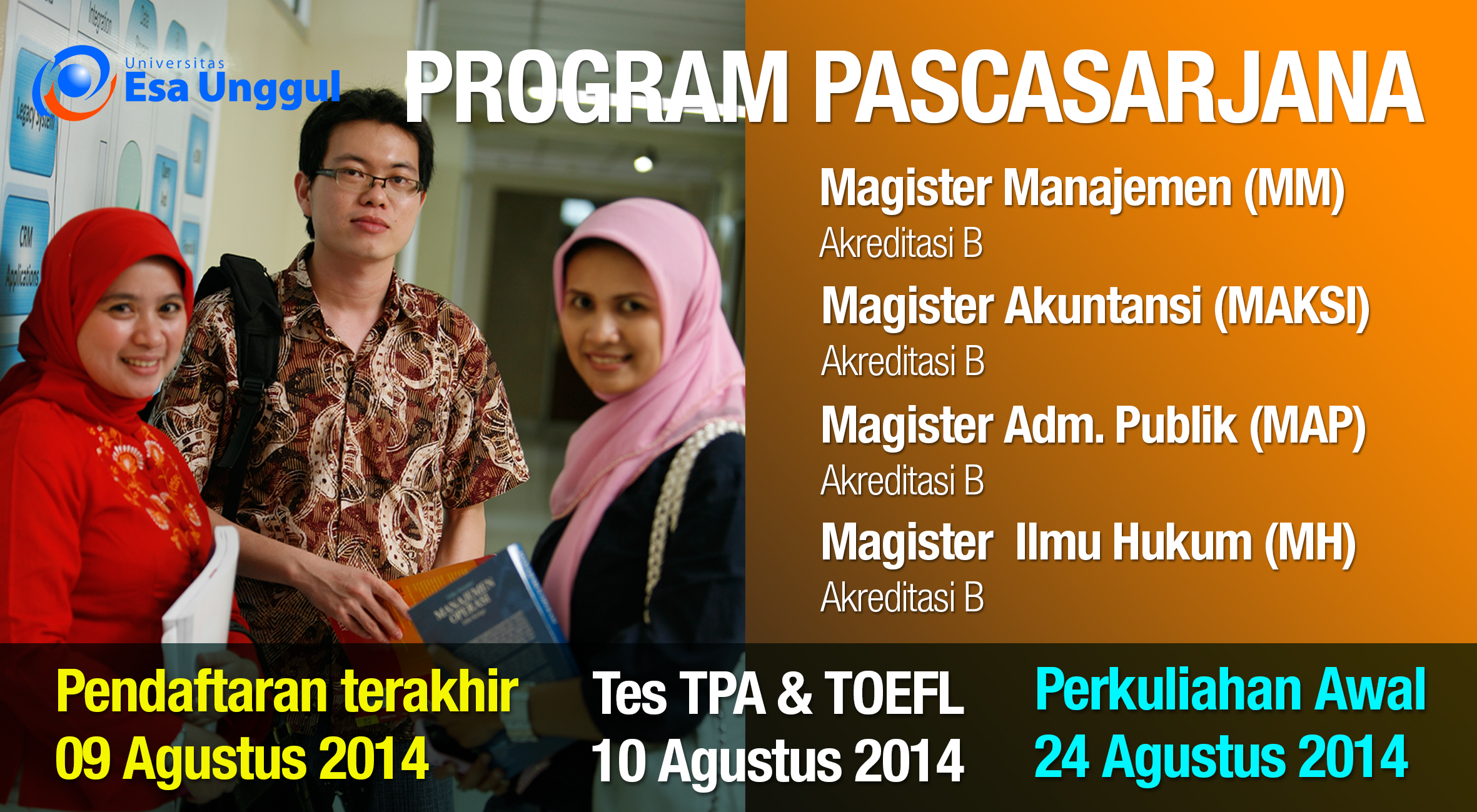 Pendaftaran Mahasiswa Baru Program Pascasarjana Tahun 2014