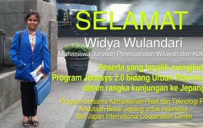 Widya Wulandari – Mahasiswa Jurusan Perencanaan Wilayah dan Kota, Fakultas Teknik UEU Terpilih Pada Program Jenesys 2.0 Bidang Urban Planning, Jepang