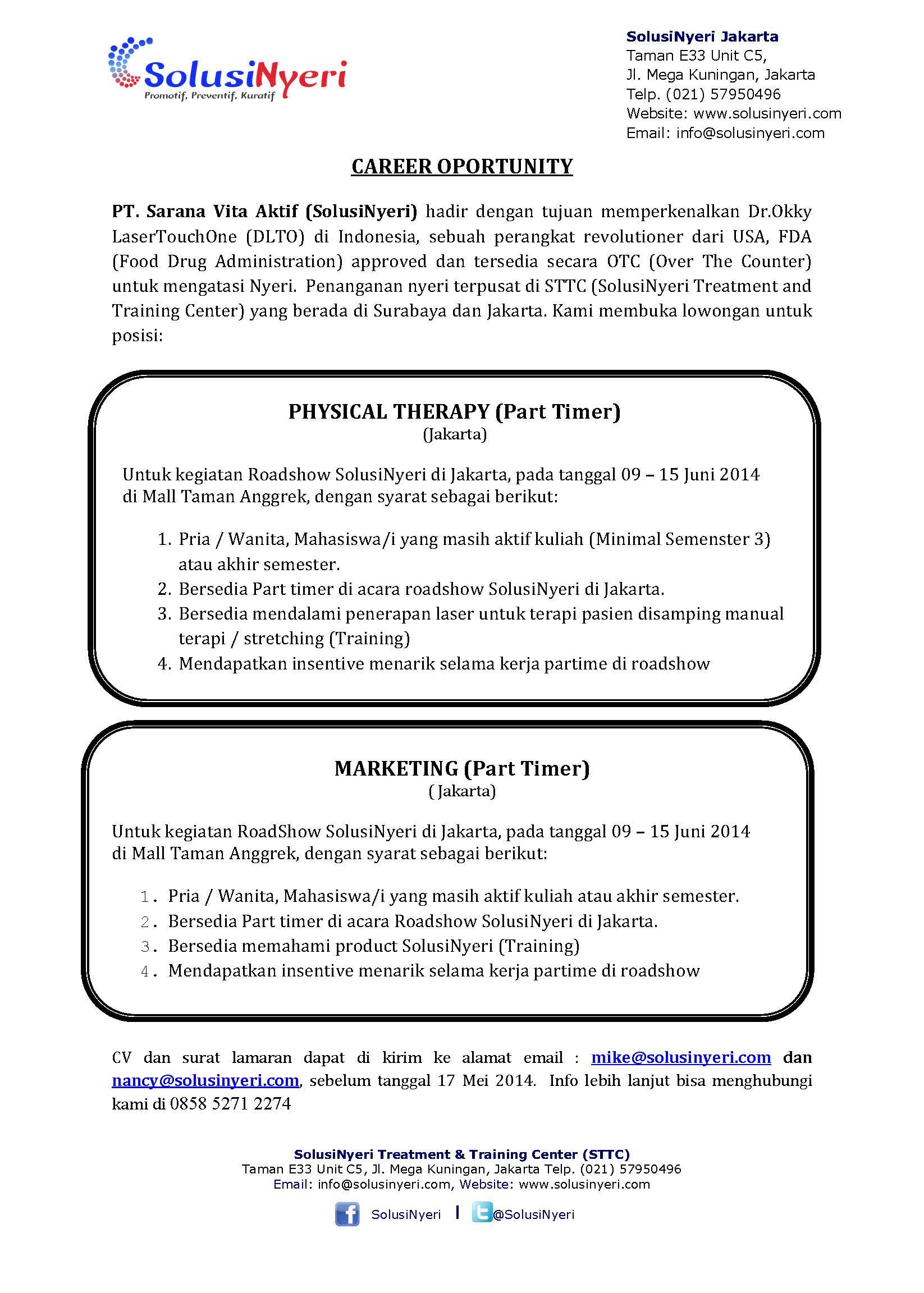 Physical Therapy (Part Timer) – PT. Sarana Vita Aktif (SolusiNyeri)