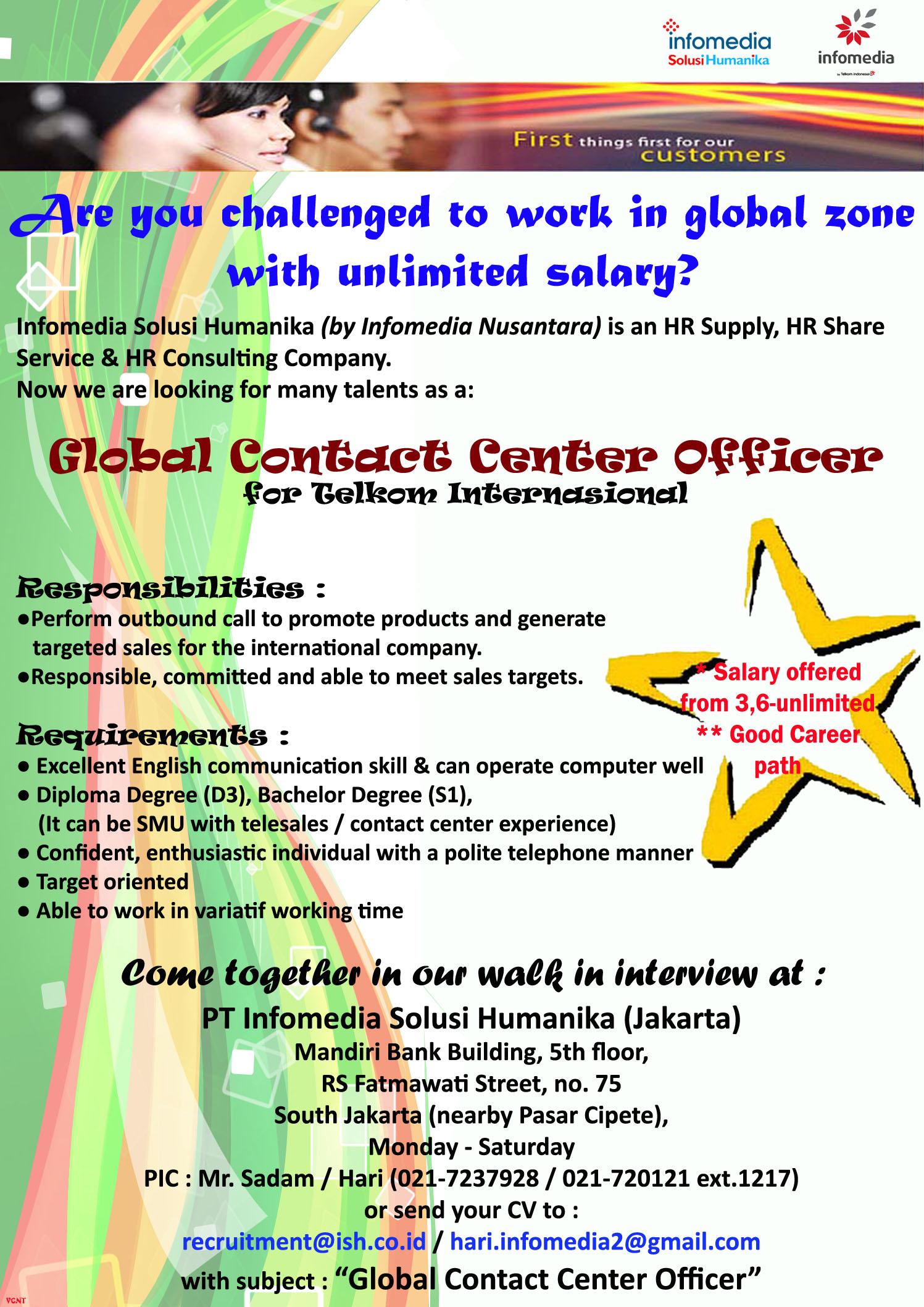 Global Contact Center Officer – PT. Infomedia Solusi Humanika