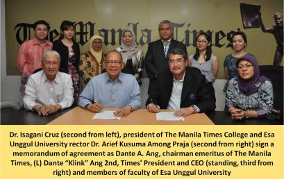 The MoU Signing Between The Manila Times College with  Esa Unggul University