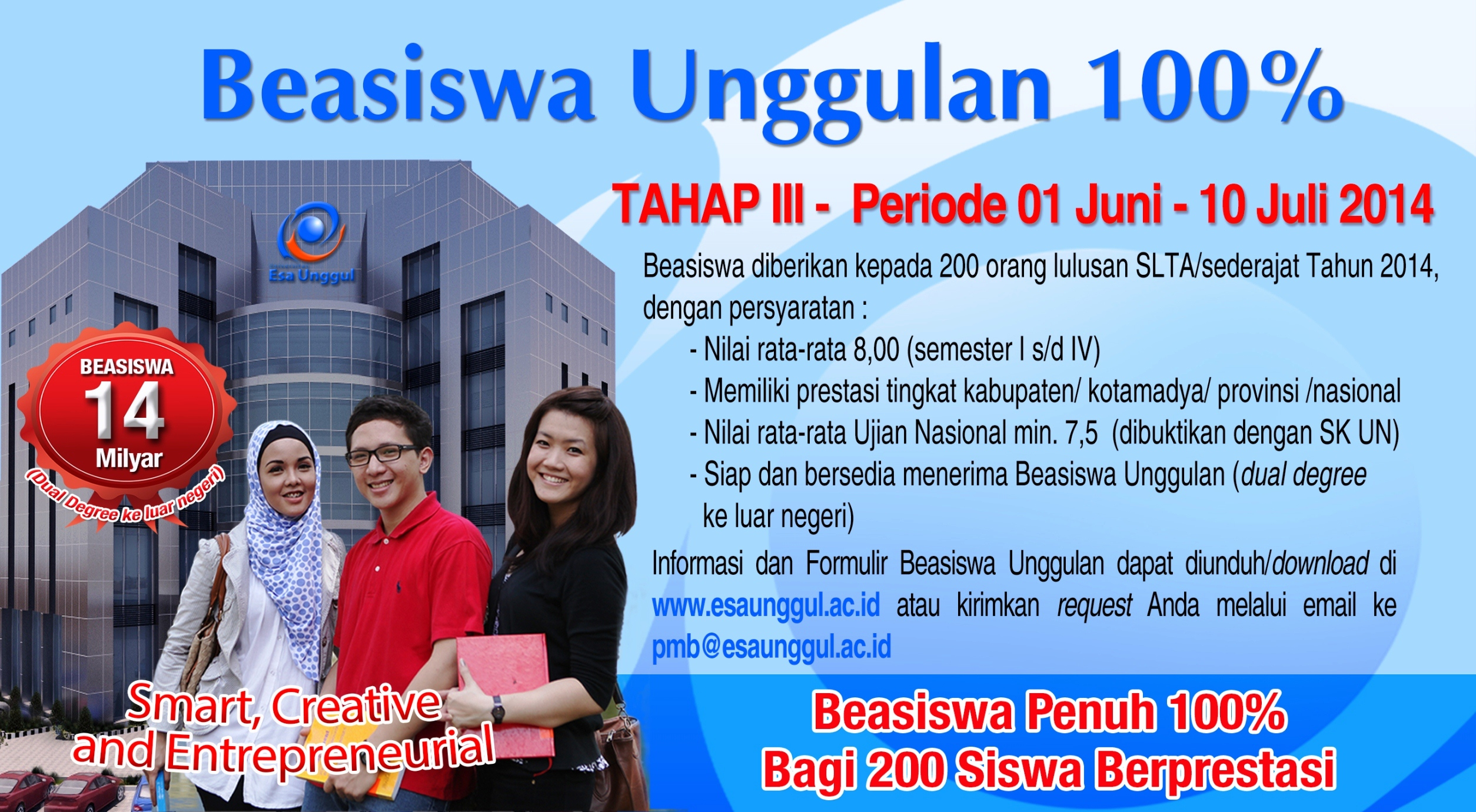 Nomor Induk Mahasiswa (NIM) Penerima Beasiswa Unggulan 100%