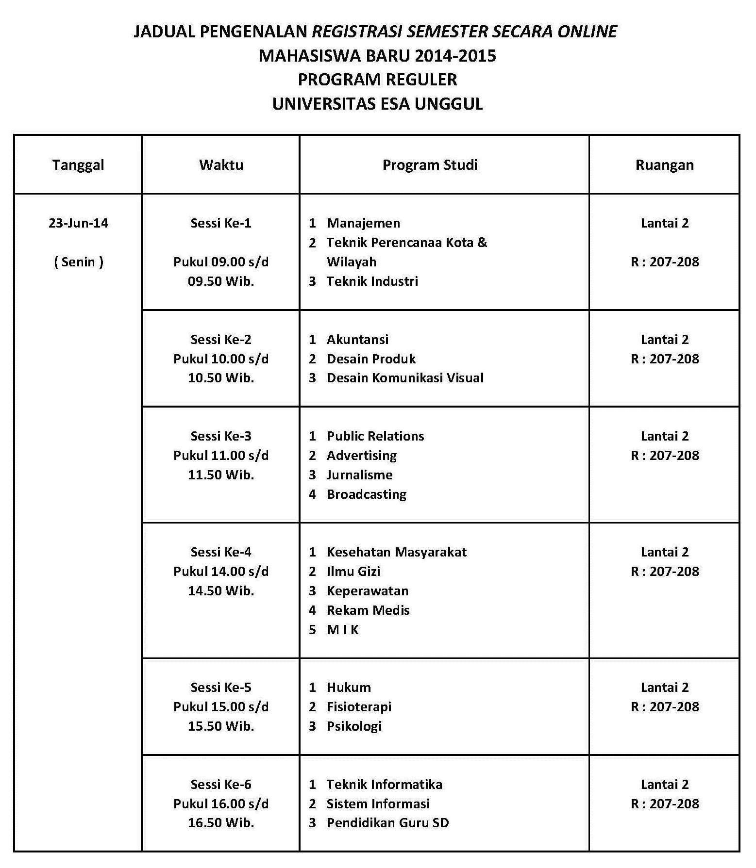 Jadwal Pengenalan Registrasi Semester secara Online Mahasiswa Baru 2014