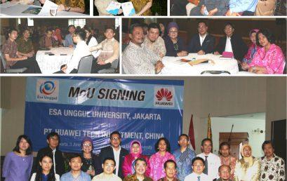 Penandatanganan MoU Antara Universitas Esa Unggul dan PT. Huawei Tech Investment, China