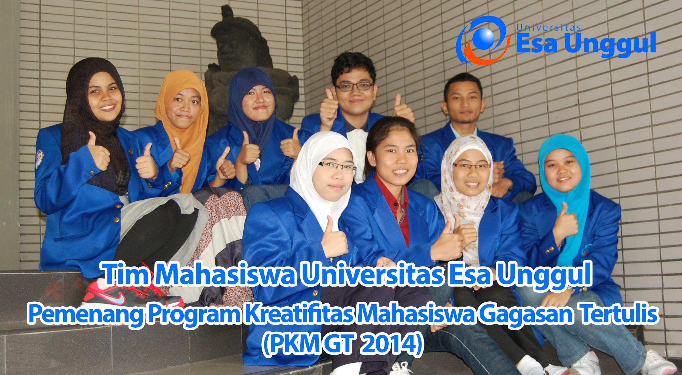 Tim Mahasiswa Universitas Esa Unggul berhasil menjadi Pemenang Program Kreatifitas Mahasiswa Gagasan Tertulis (PKM GT) DIKTI 2014