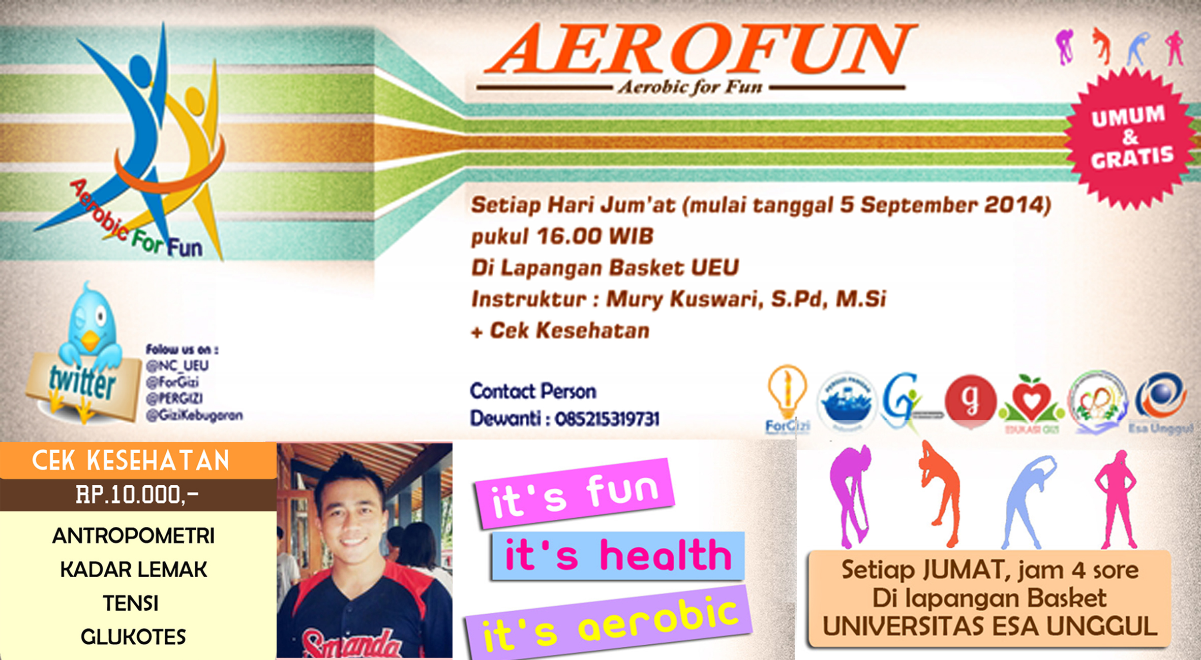 "Universitas Esa Unggul menyelenggarakan ""Aerobic for Fun "" setiap Jumat pukul 16.00 – selesai"