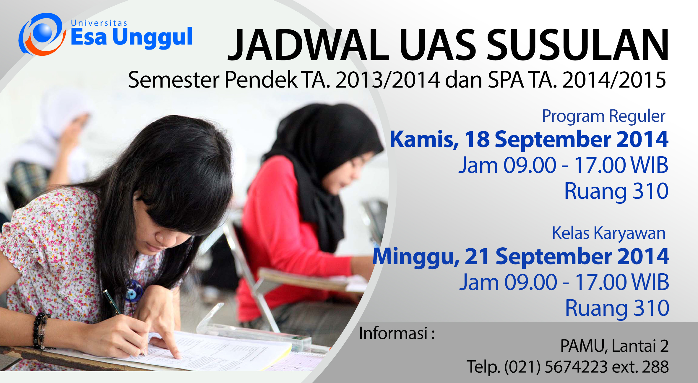 Jadwal dan Tata Cara Ujian Akhir Semester (UAS) Susulan SP/SPA Sem. 2013/2014