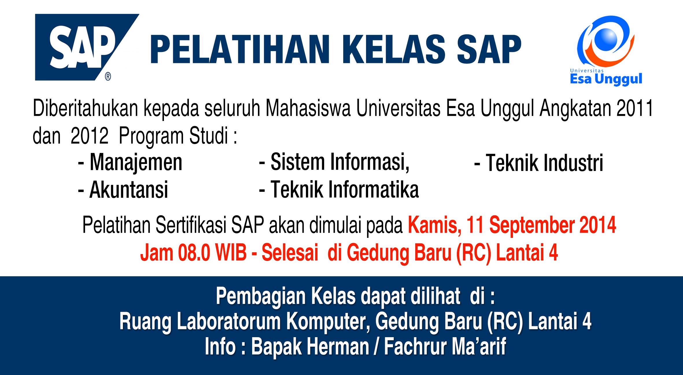 Jadwal dan Pembagian Kelas Pelatihan Sertifikasi SAP Tahun 2014