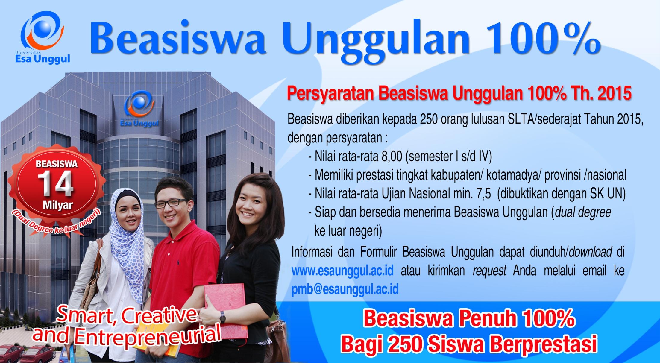 Beasiswa Unggulan 100% – Penerimaan Mahasiswa Baru ...