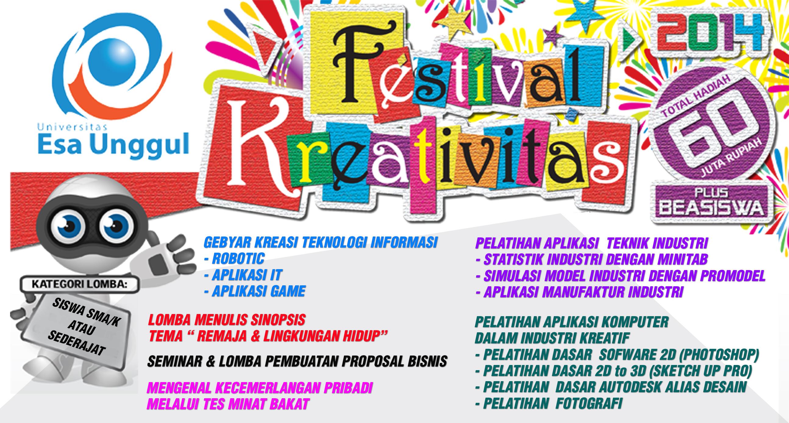 """Universitas Esa Unggul menyelenggarakan """"FESTIVAL KREATIFITAS 2015"""" untuk Siswa/i SMA/K dan Sederajat"""