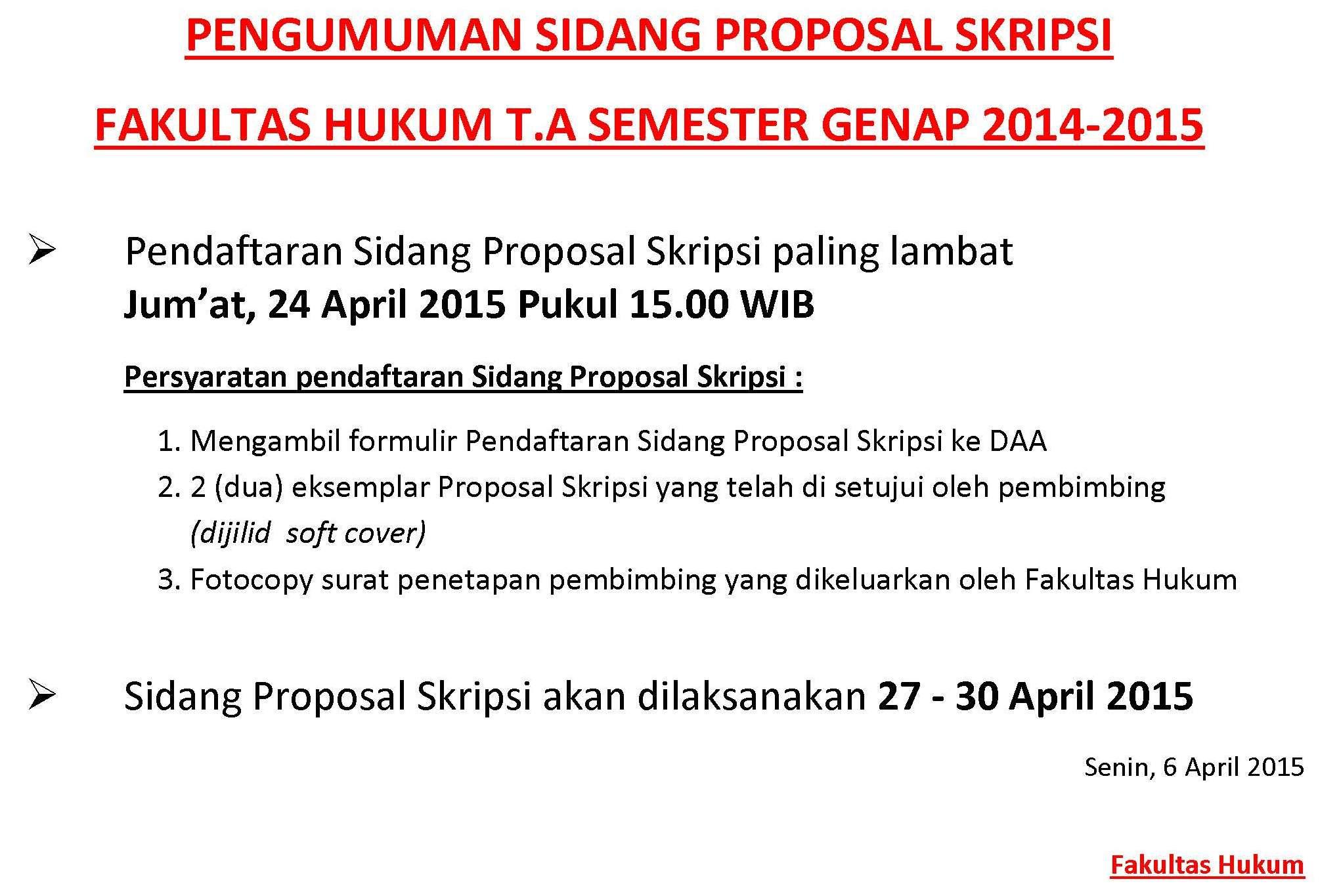 Pengumuman Proposal Skripsi Fakultas Hukum Semester Genap Tahun