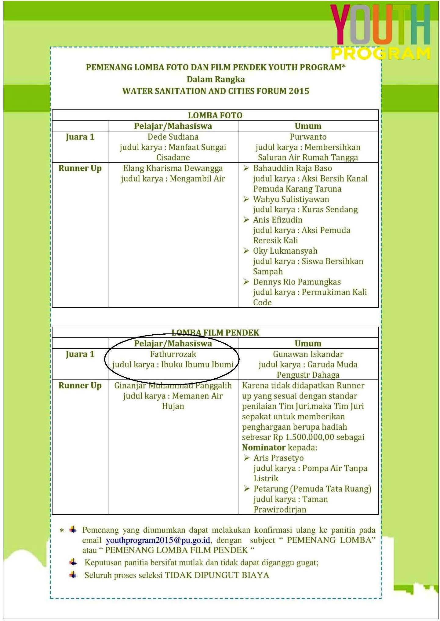 Selamat & Sukses FIKOM Universitas Esa Unggul Juara 1 Lomba Film Dokumenter Kategori Mahasiswa/Pelajar – Direktorat Jenderal Cipta Karya-Kementerian Pekerjaan Umum 2015