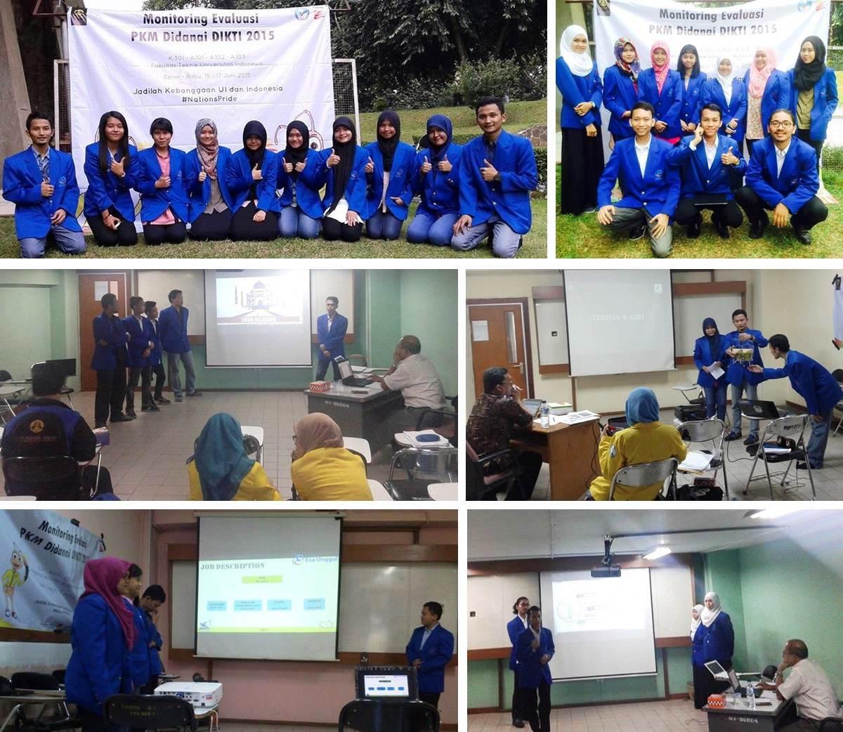 12 Tim Mahasiswa Universitas Esa Unggul Mengikuti Kegiatan Monev PKM 5 Bidang 2014 Pendanaan 2015 yang Diselenggarakan oleh DIKTI di Universitas Indonesia
