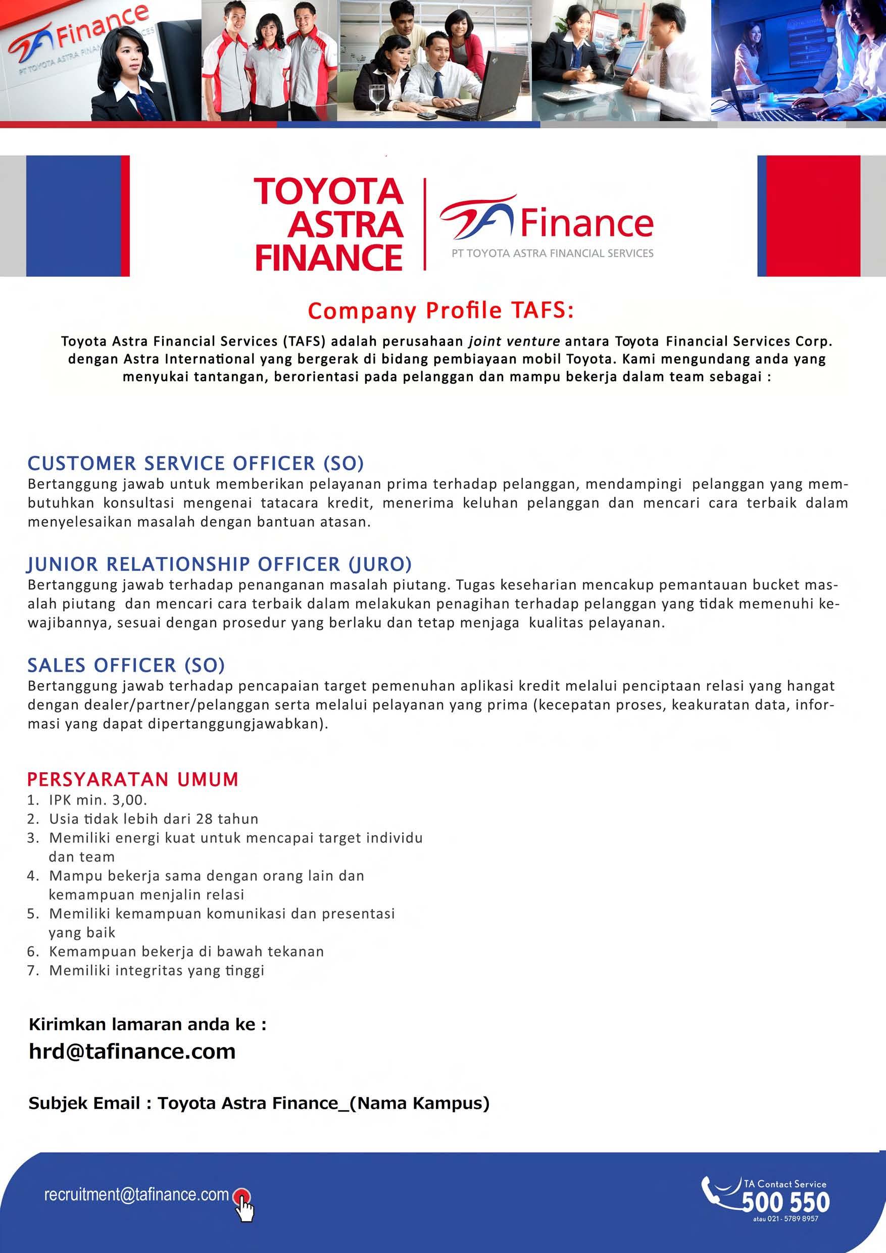 Pt Toyota Astra Financial Services Universitas Esa Unggul