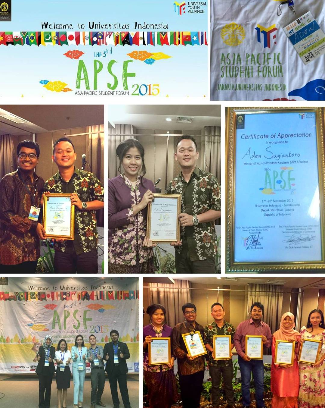 Mahasiswa Fakultas Hukum, Aden Sugiantoro – The Winner of Act-of-Random-Kindness (ARK) Project and The Winner of The Most Photogenic Delegate at The Third Asia Pacific Student Forum 2015