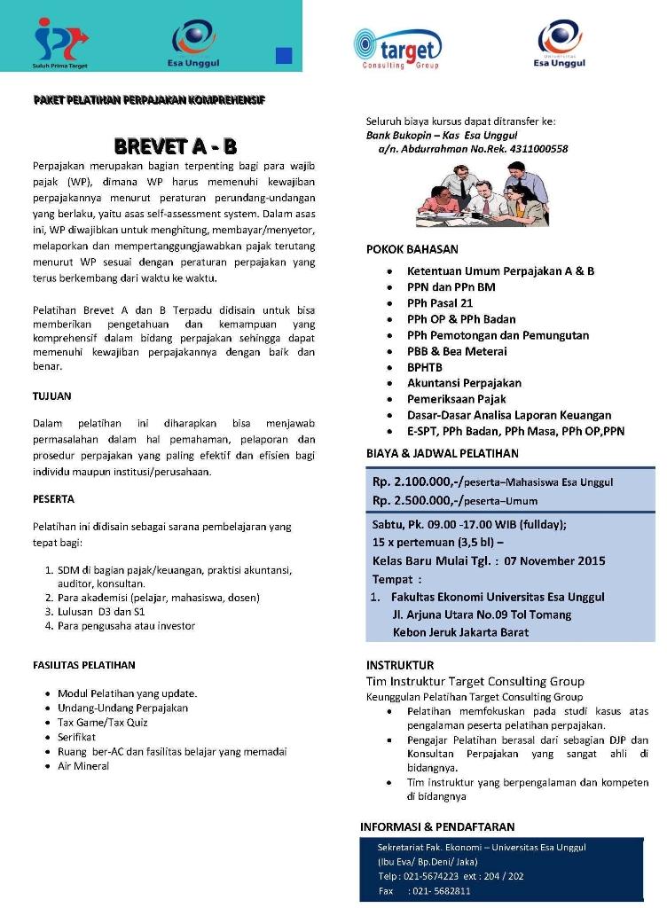 Pelatihan Perpajakan Komperhensif Brevet A – B, Fakultas Ekonomi