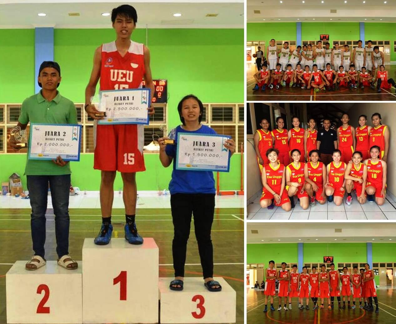 Tim Basket Ball the Swans Universitas Esa Unggul meraih Juara 1 dalam Kompetisi Binus Cup 2015