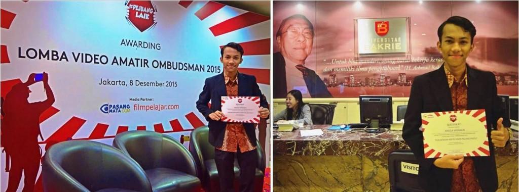 Angga Wiranda menang di The Best Choise Live Reporting Ombudsman