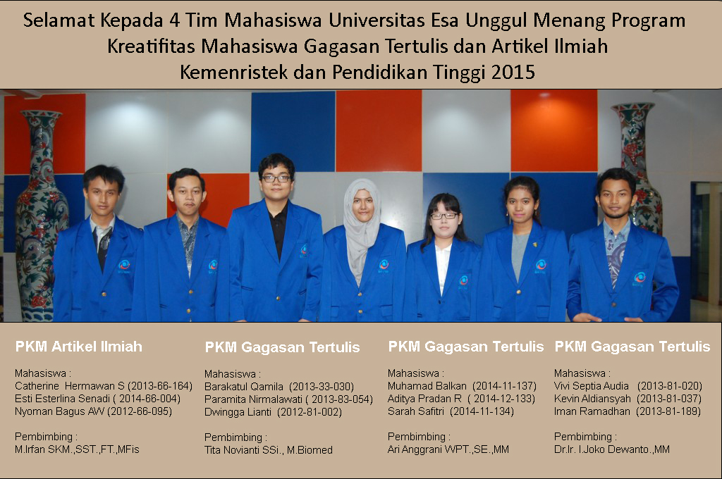 Mahasiswa Universitas Esa Unggul Pemenang PKM