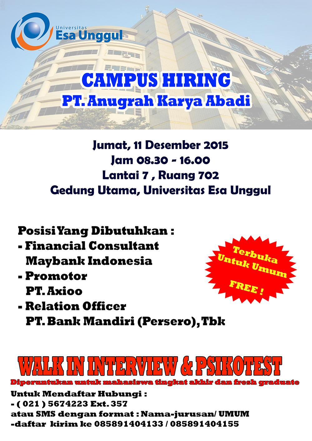 Campus Hiring PT. Anugrah Karya Abadi