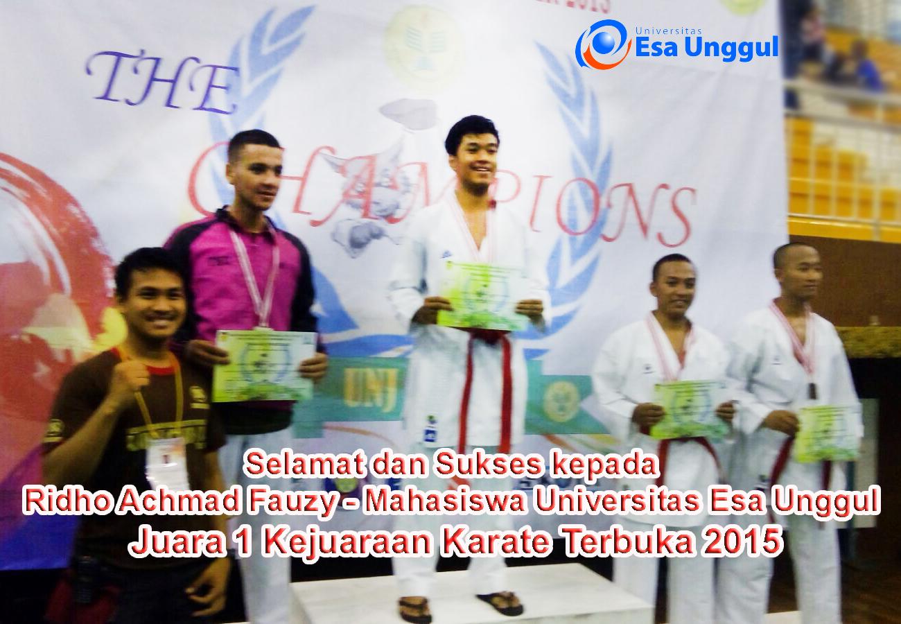 Ridho Achmad Fauzy mahasiswa Universitas Esa Unggul atas Juara 1 dalam Kejuaraan Karate Terbuka 2015