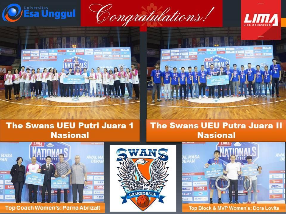 Selamat Kepada Tim Basket The Swans Universitas Esa Unggul Memenangkan Juara I Putri dan Juara 2 Putra di  LIMA Basketball Nationals Season 4 2016