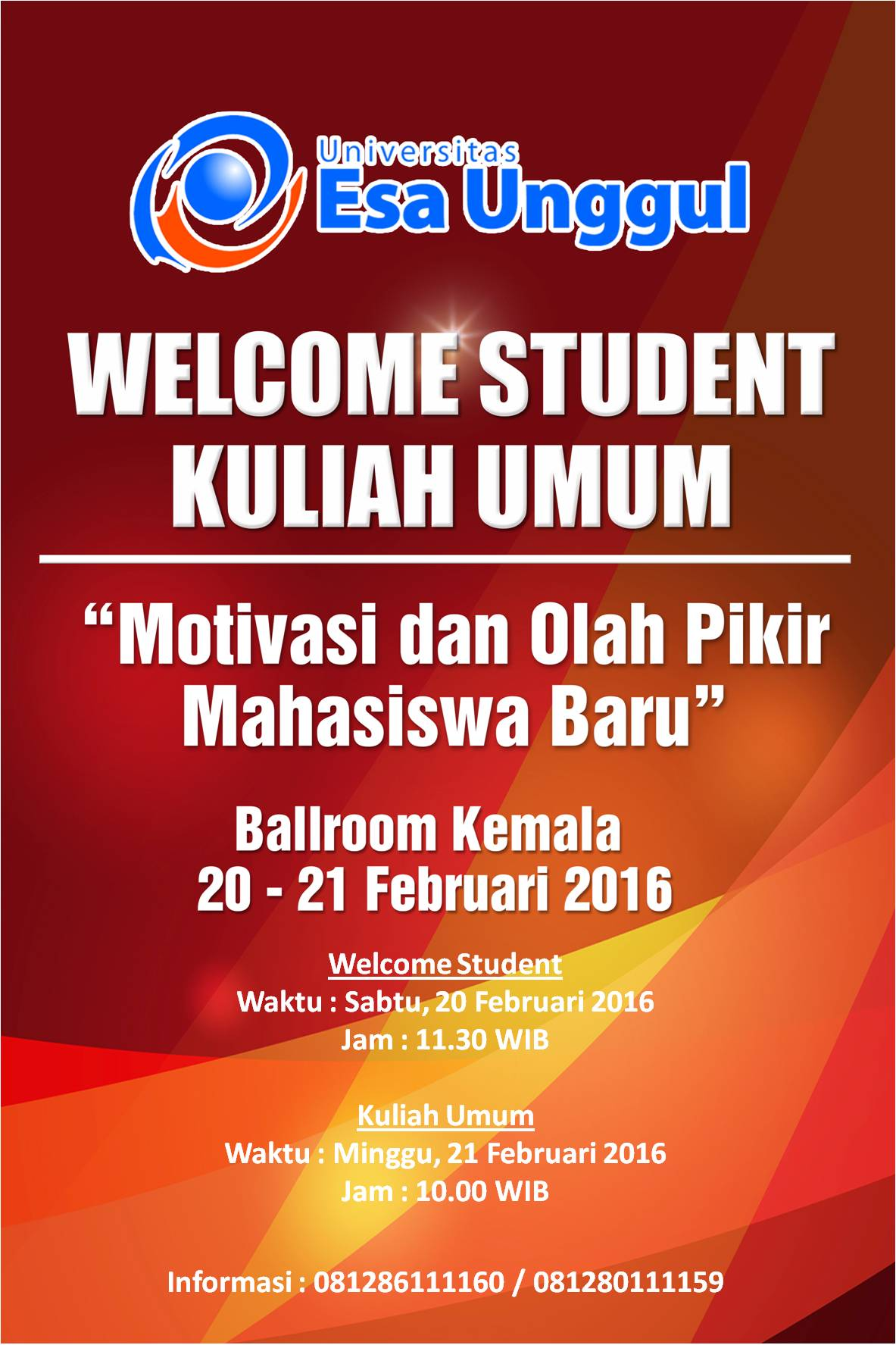 Welcome Student Universitas Esa Unggul  Kelas Paralel Semester Genap 2015/2016