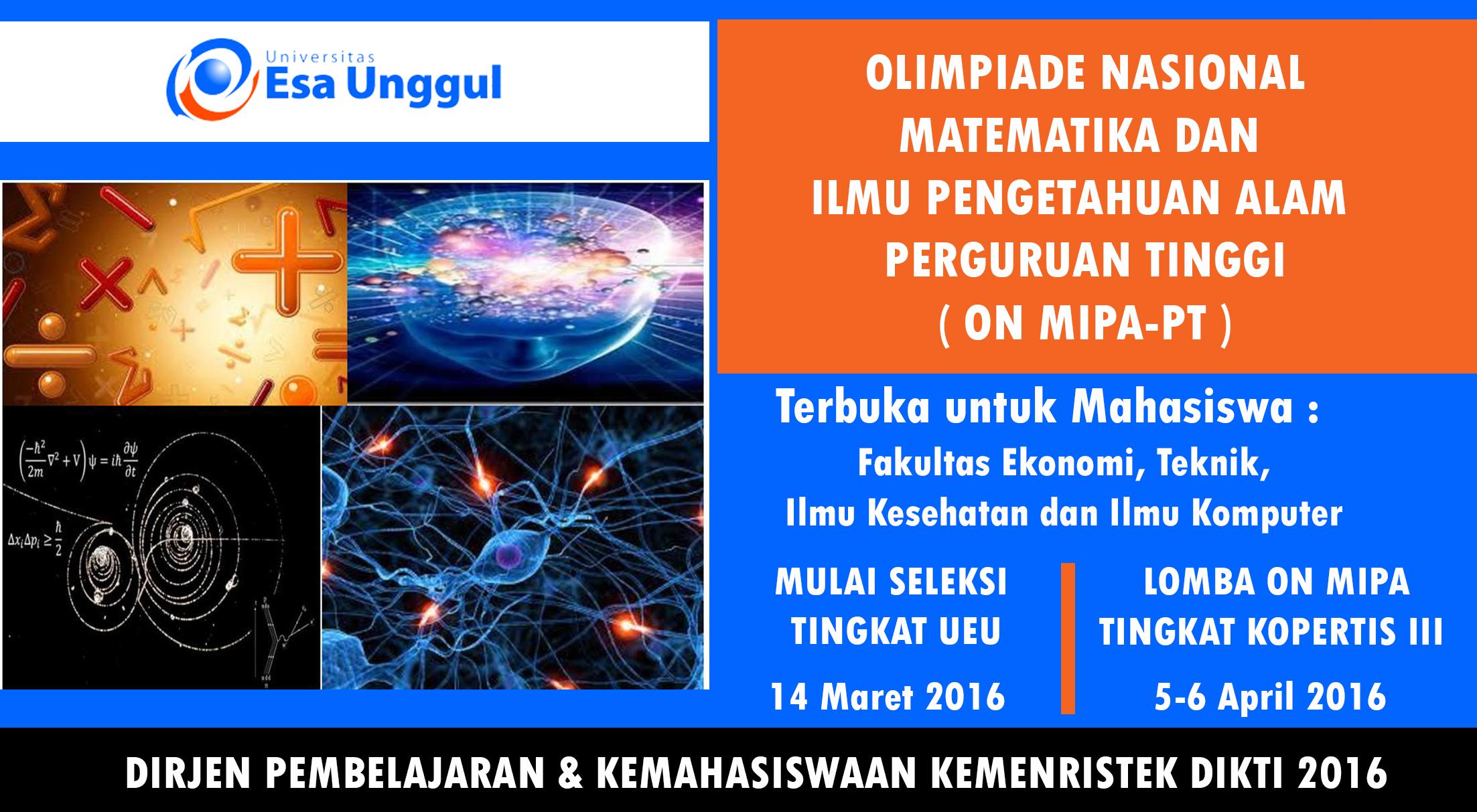 Lomba Olimpiade Nasional Matematika dan Ilmu Pengetahuan Alam Perguruan Tinggi 2016
