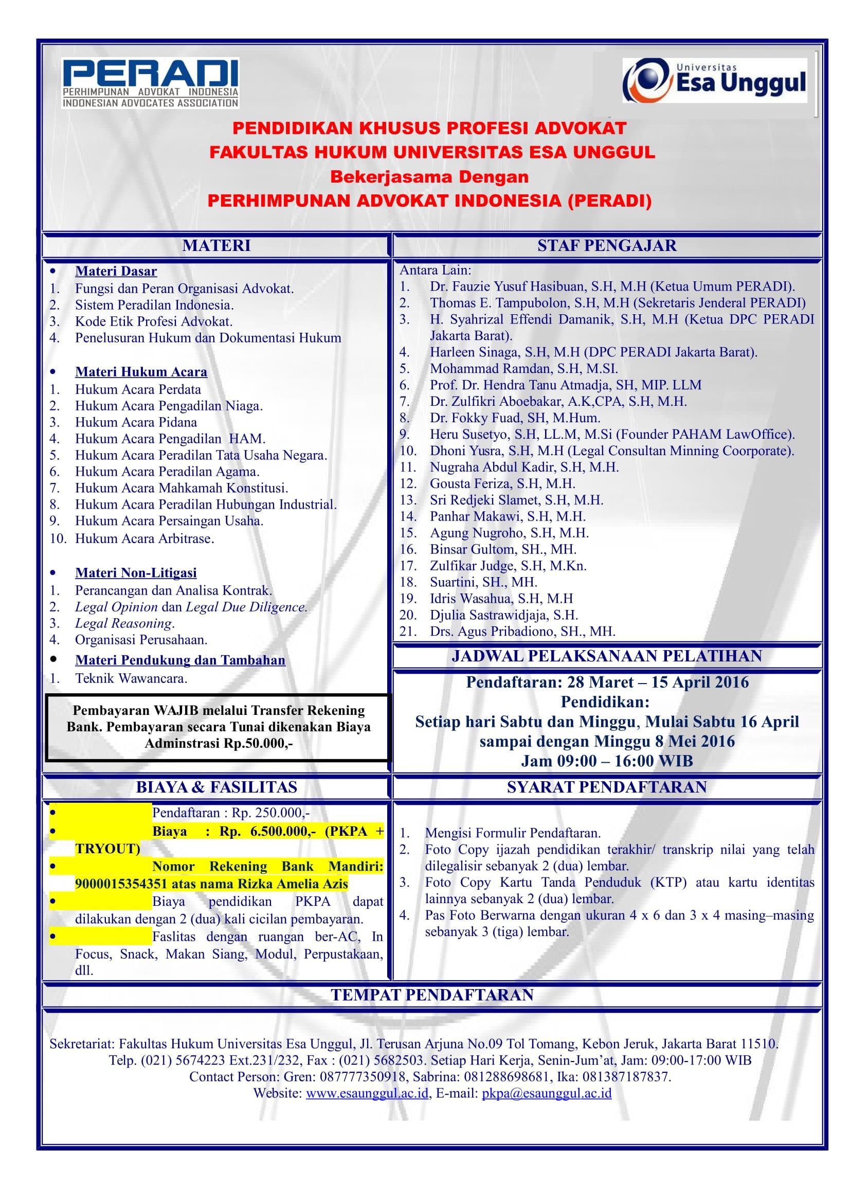 Pendidikan Khusus Profesi Advokat (PKPA) Universitas Esa Unggul