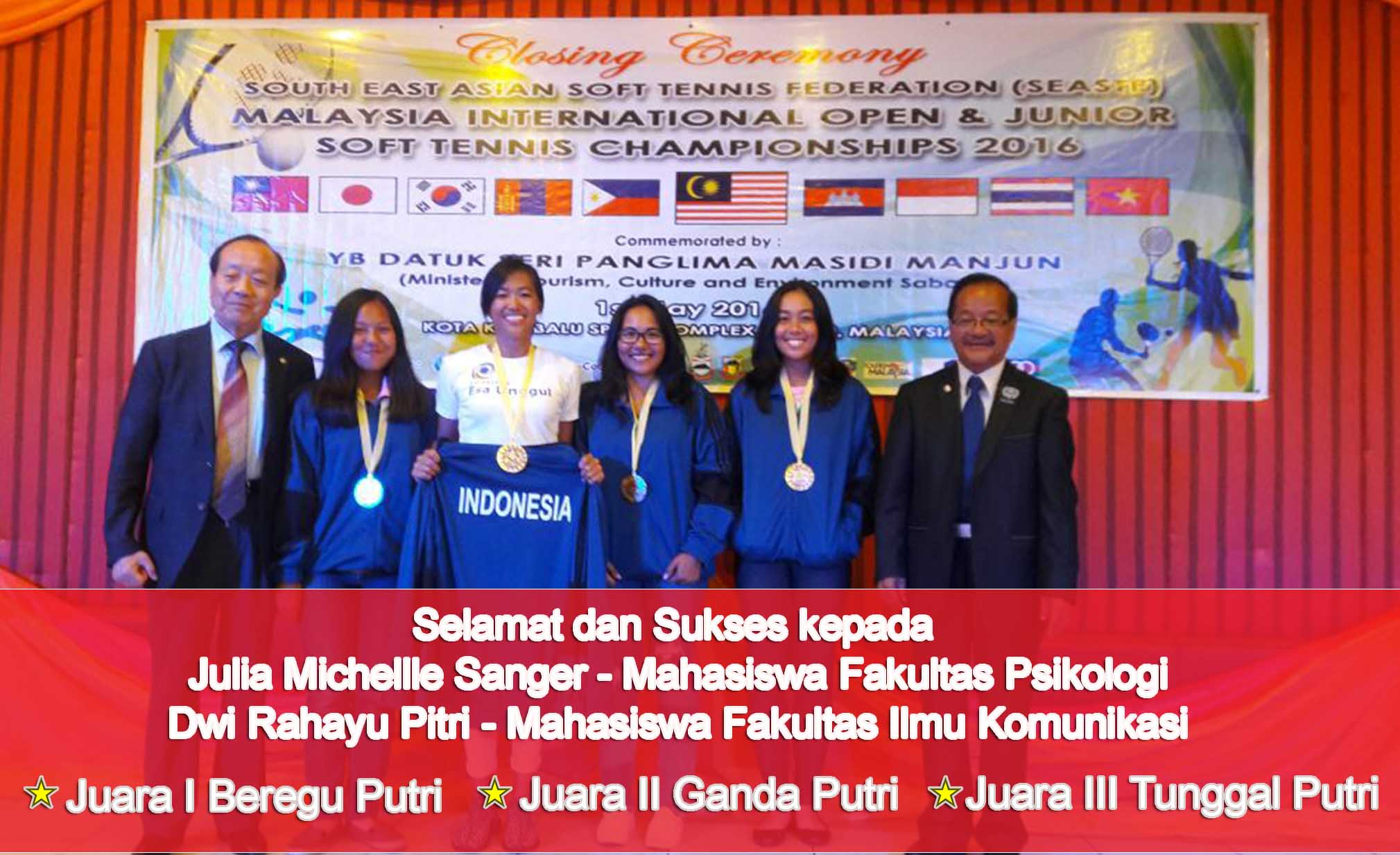 Sout East Asian Soft Tennis Federation (SEASTF) Malaysia International Open & Junior Soft Tennis Championships 2016