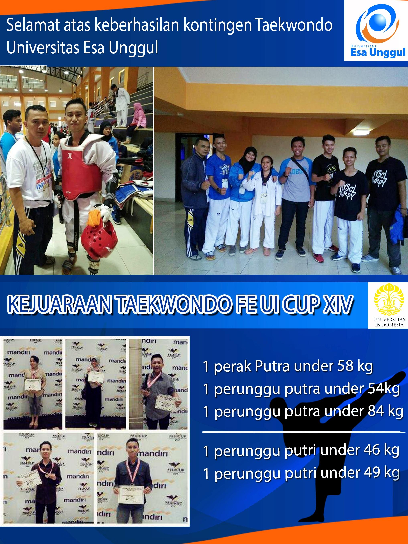 Selamat atas Keberhasilan Kontingen Taekwondo Universitas Esa Unggul dalam kejuaraan Taekwondo FE UI CUP 2016