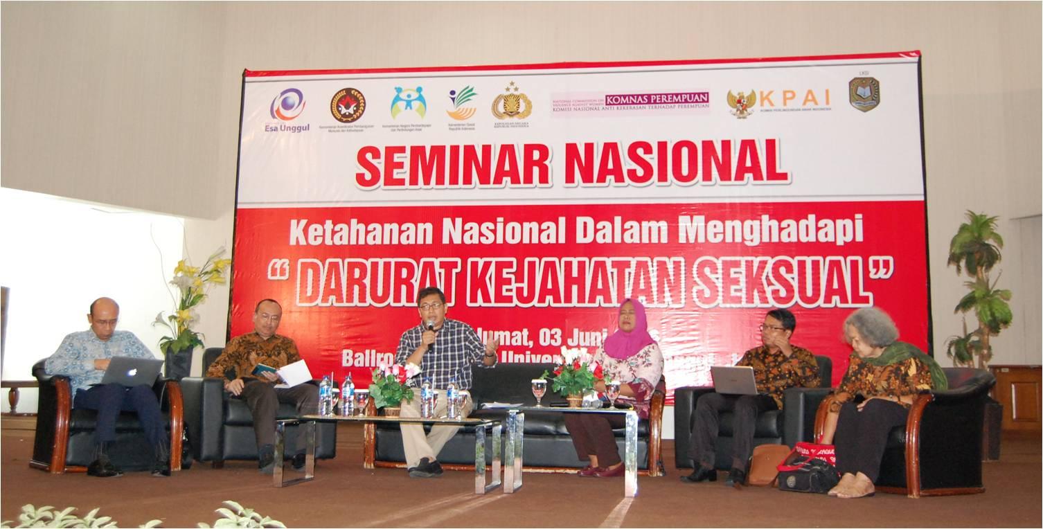 Seminar Nasional Darurat Kejahatan Seksual dan Kerjasama LKSI dengan Universitas Esa Unggul