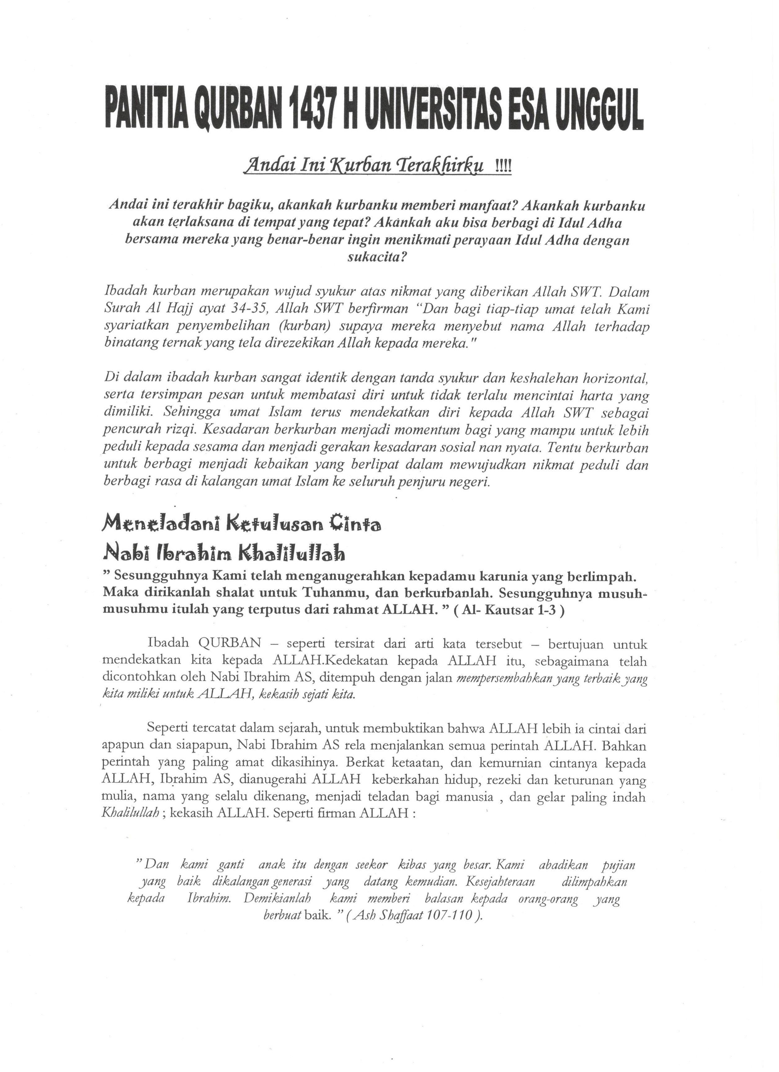 Himbauan Berkurban di Universitas Esa Unggul 2016