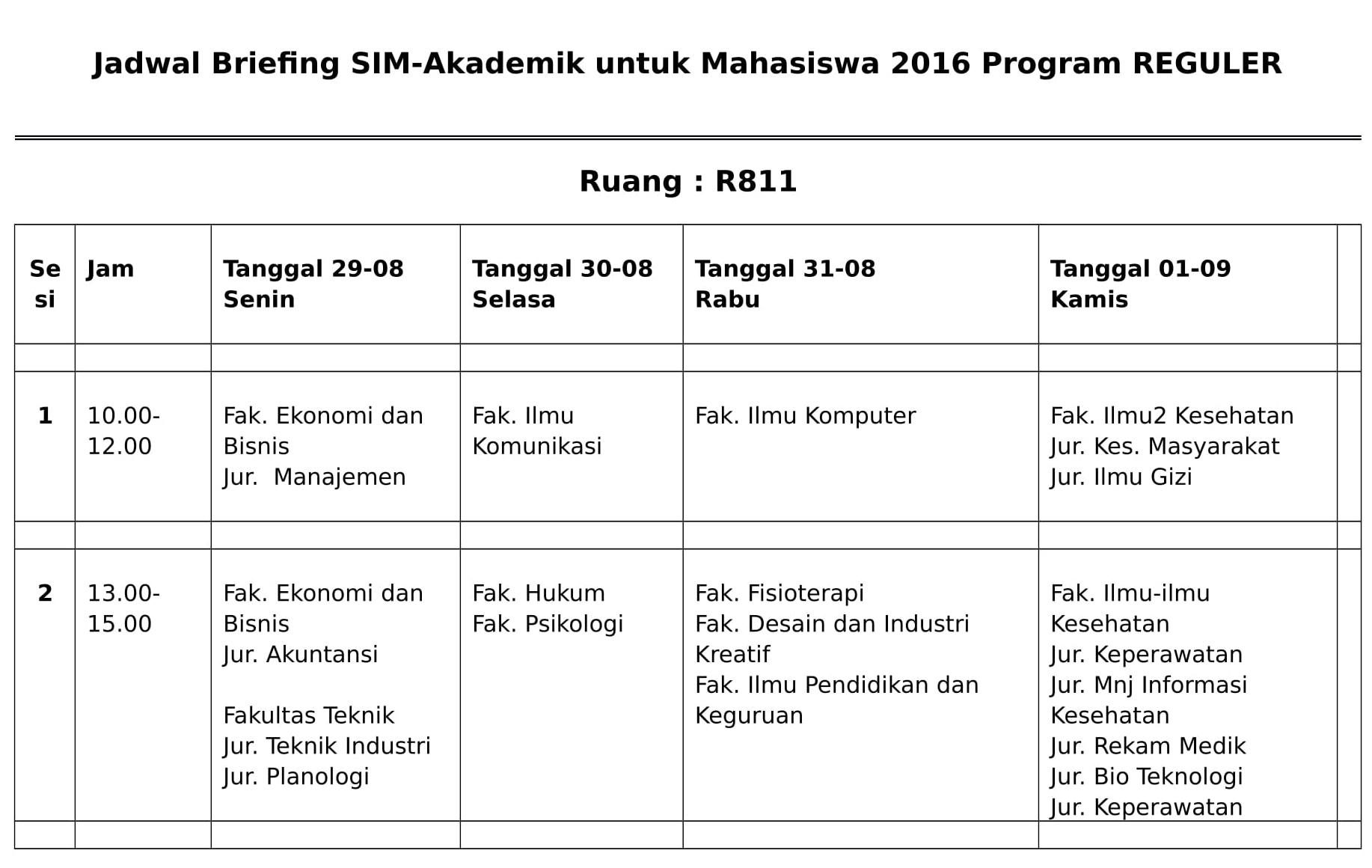 Jadwal Briefing SIM Akademik 2016