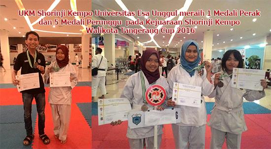 UKM Shorinji Kempo Universitas Esa Unggul meraih 1 Medali Perak dan 5 Medali Perunggu pada Kejuaraan Shorinji Kempo Walikota Tangerang Cup 2016