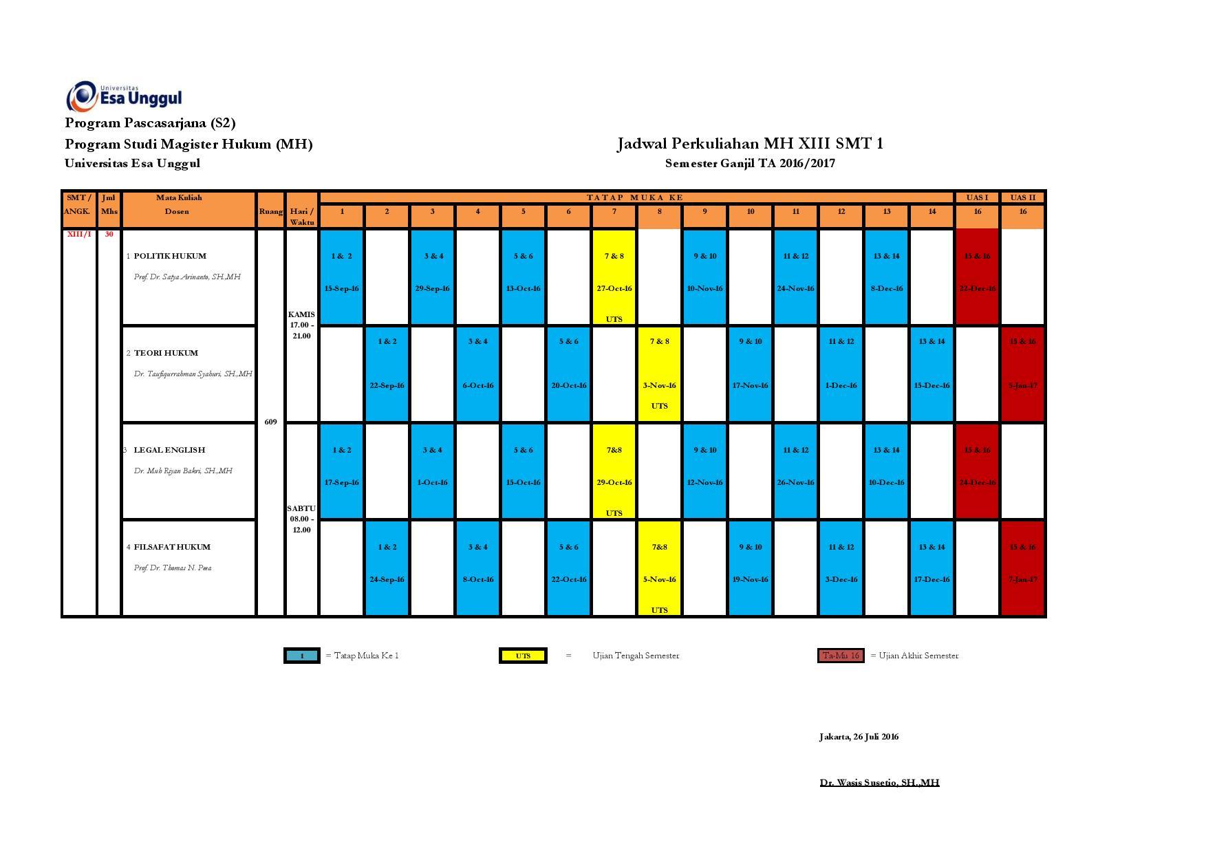 Jadwal Perkuliahan MH XIII SMT 1