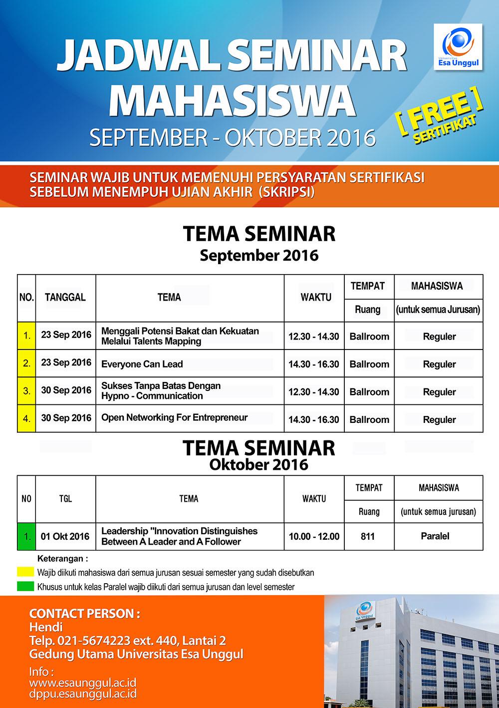 Jadwal Seminar Mahasiswa Universitas Esa Unggul, September dan Oktober 2016