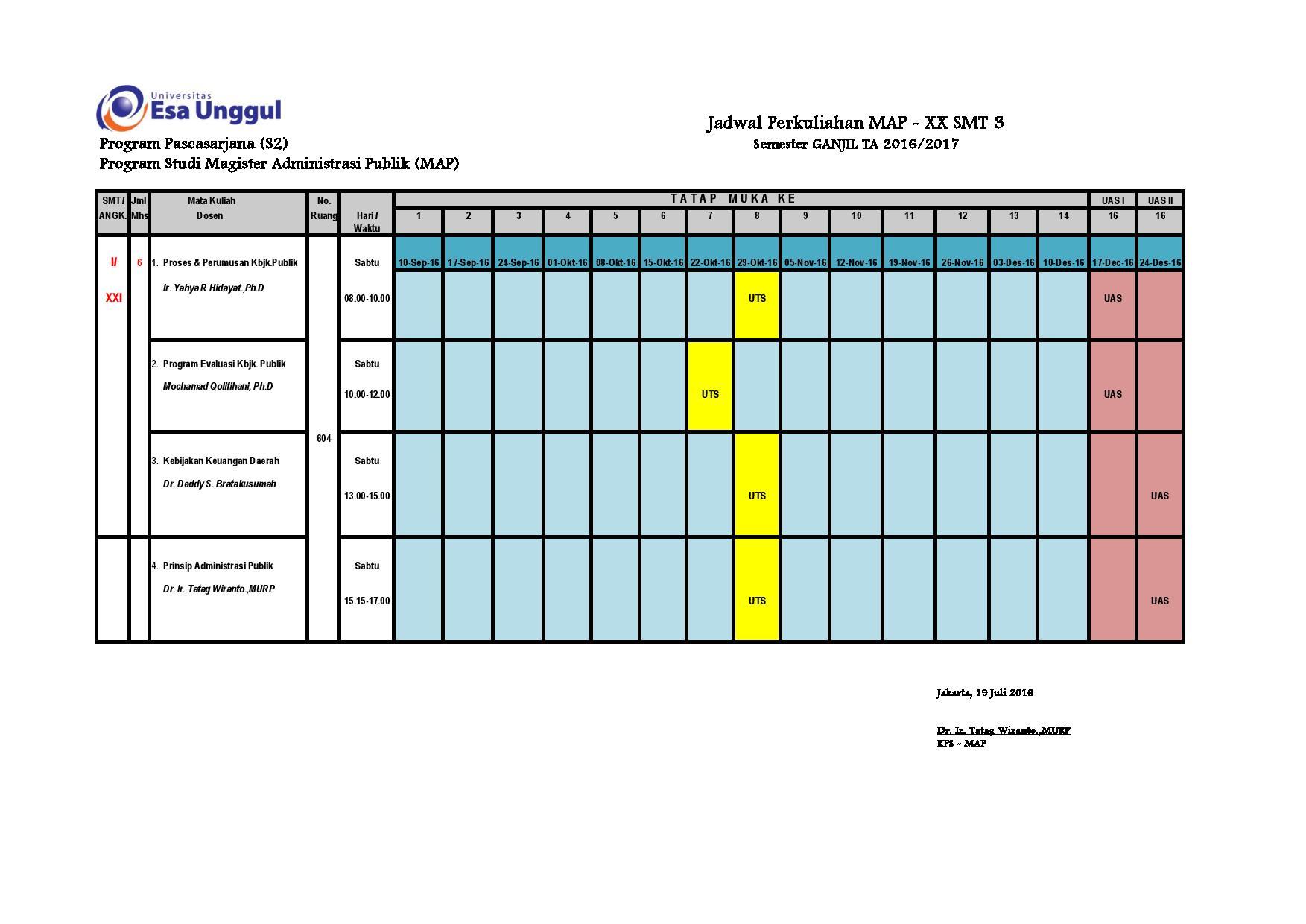 Jadwal Perkuliahan MAP - XX SMT 3