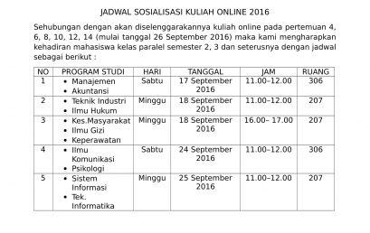 Jadwal Sosialisasi Kuliah Online 2016