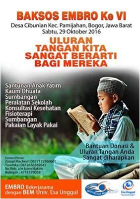 Baksos Ke VI EMBRO Bekerjasama dengan BEM Universitas Esa Unggul dan Yayasan Birul Walidain, Bogor