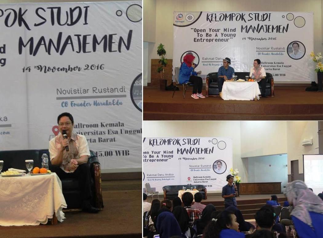 Pembicara dari Head Bussiner Bukalapak dan CO Founder HarukaEdu